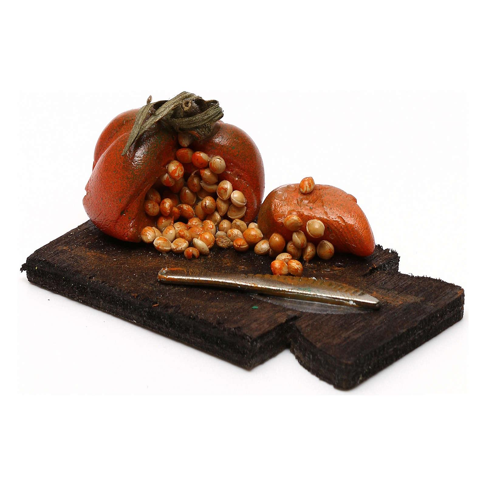 Tagliere con zucca presepe napoletano con statuine da 24 cm 4