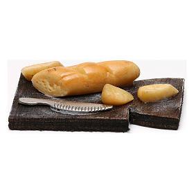 Cutting board with bread, Neapolitan Nativity scene 24 cm s1