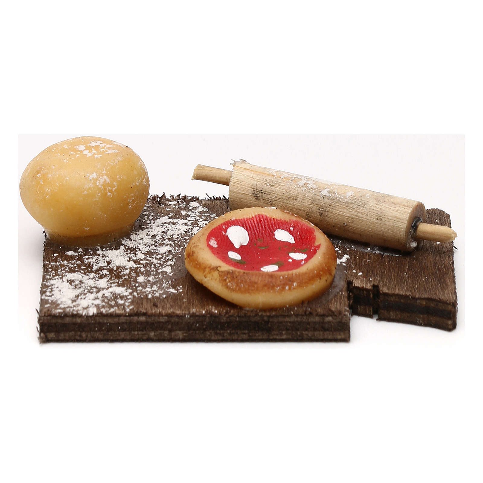 Cutting board with pizza, Neapolitan Nativity scene 24 cm 4