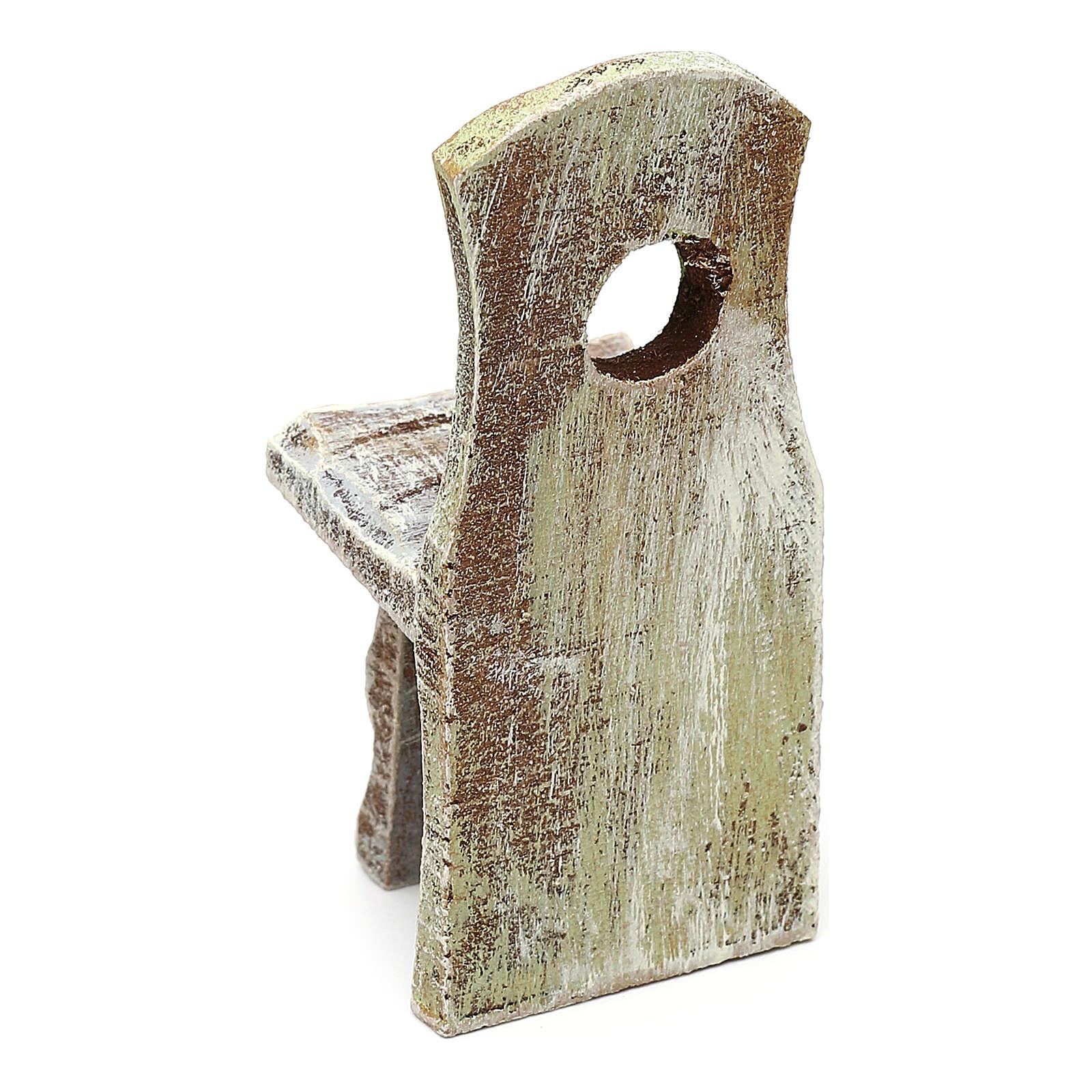 Sedia con schienale presepe 10 cm accessorio 6x2x2 cm 4