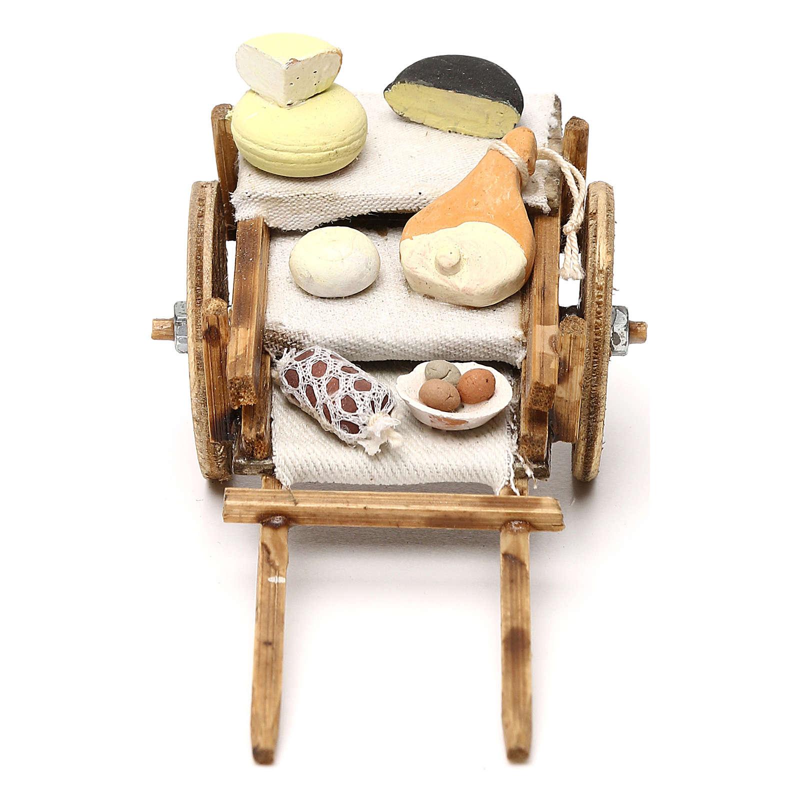 Carretto con salumi e formaggi presepe napoletano 8 cm 4