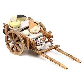 Presépio Napolitano: Carrinho com charcutaria e queijo para presépio napolitano com peças de 8 cm