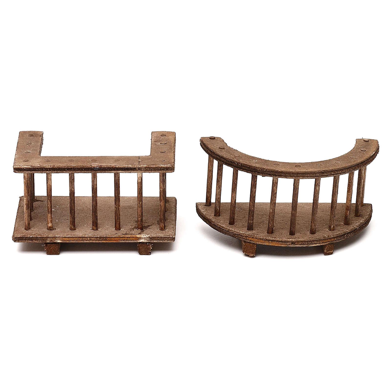 Due modelli di balcone in legno presepe napoletano 8 cm 4