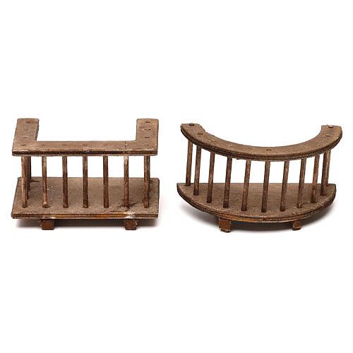 Due modelli di balcone in legno presepe napoletano 8 cm 1