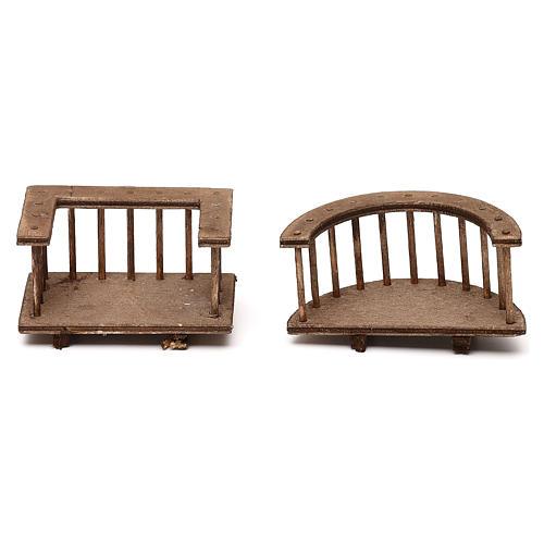 Due modelli di balcone in legno presepe napoletano 8 cm 2