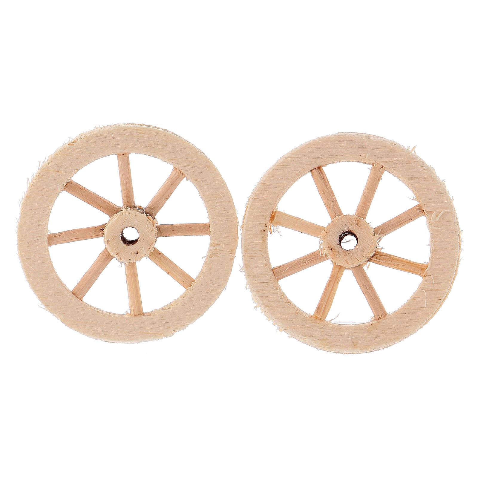 Deux roues en bois 3,5 cm 4