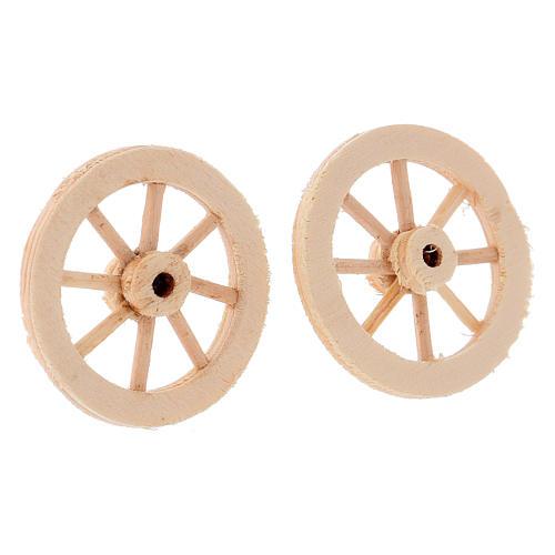 Deux roues en bois 3,5 cm 2