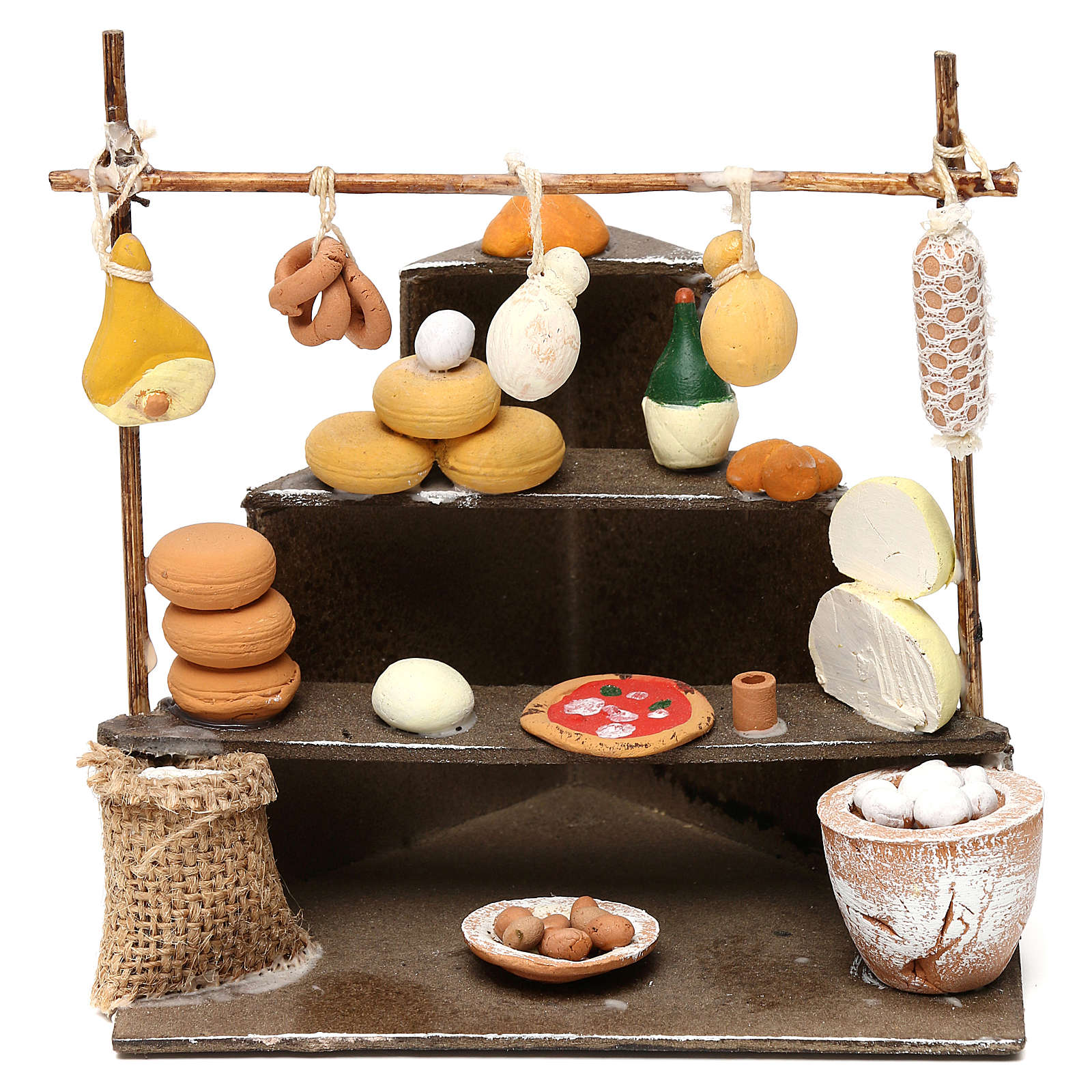 Bench with cold cuts, dairy products and food  products for Neapolitan  Nativity scene of 10 cm 4