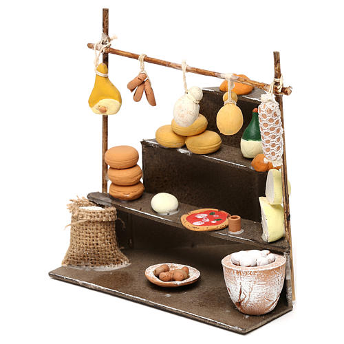 Bench with cold cuts, dairy products and food  products for Neapolitan  Nativity scene of 10 cm 2