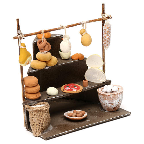 Bench with cold cuts, dairy products and food  products for Neapolitan  Nativity scene of 10 cm 3