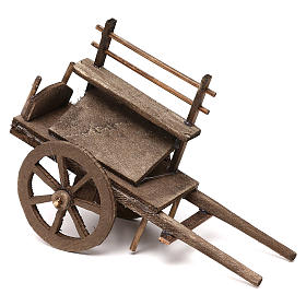 Carro del vendedor de madera belén napolitano 12 cm s1