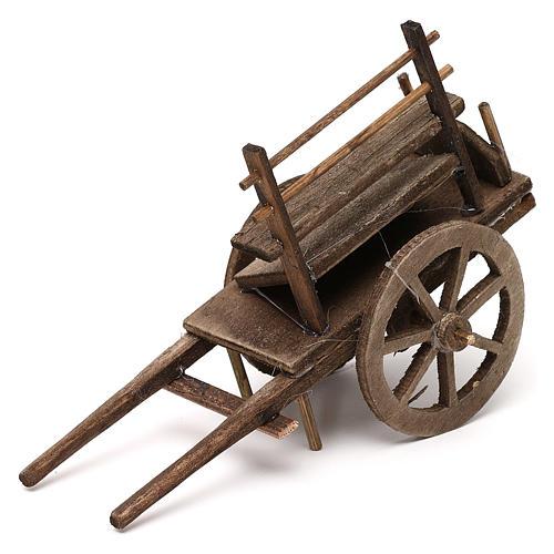 Carro del vendedor de madera belén napolitano 12 cm 2