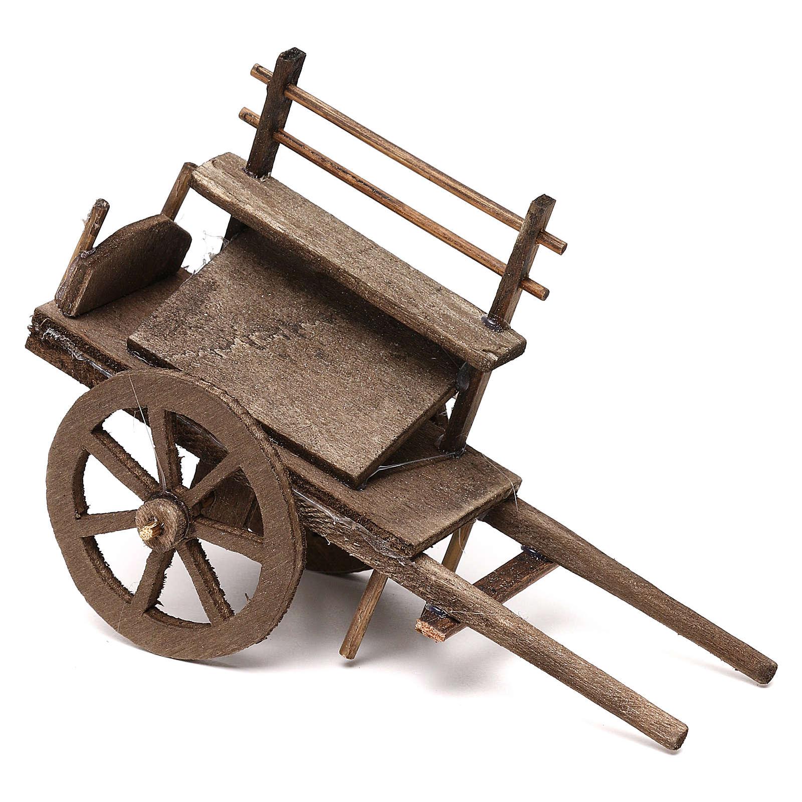Charrette pour vendeur en bois crèche napolitaine 12 cm 4
