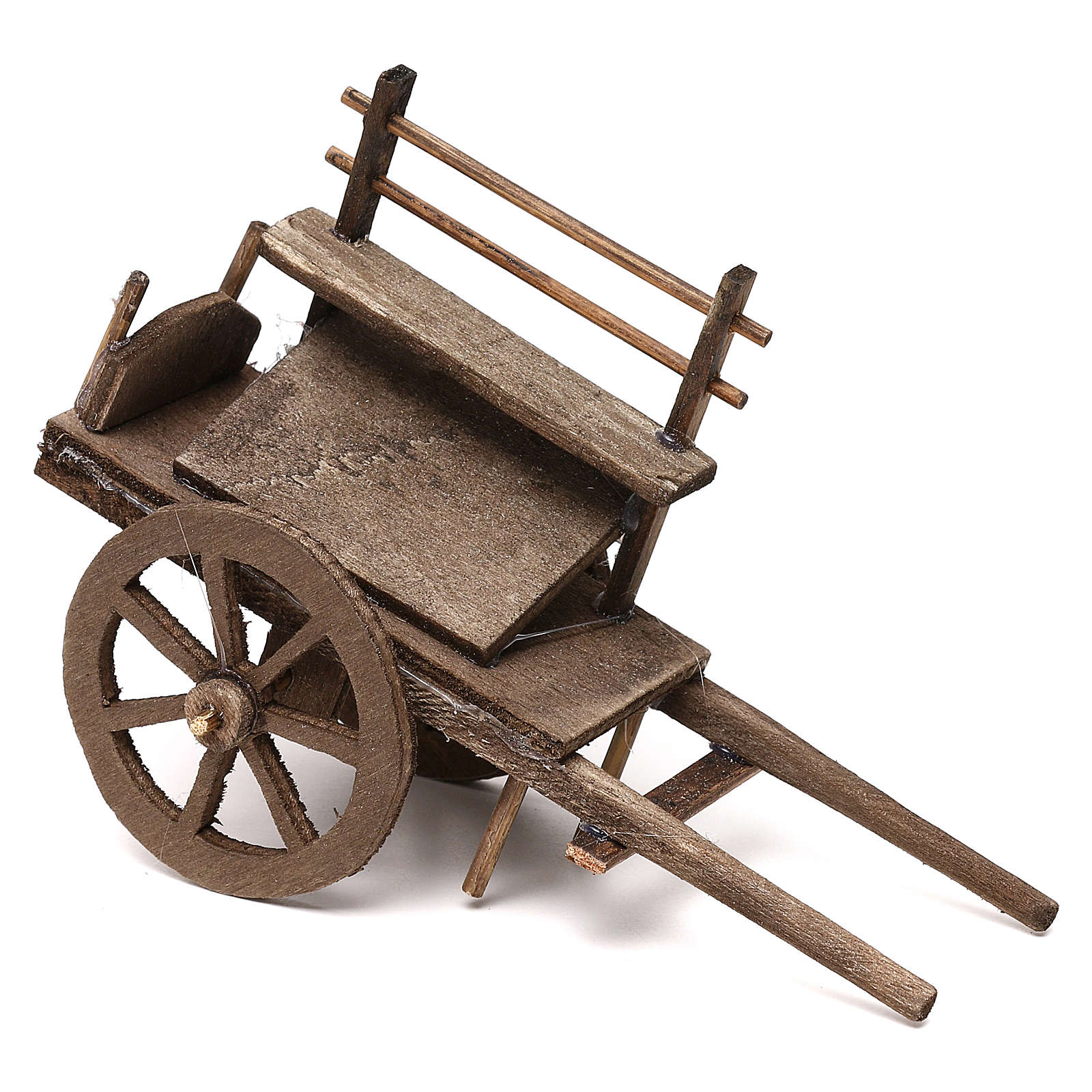 Carro per venditore in legno presepe napoletano 12 cm 4