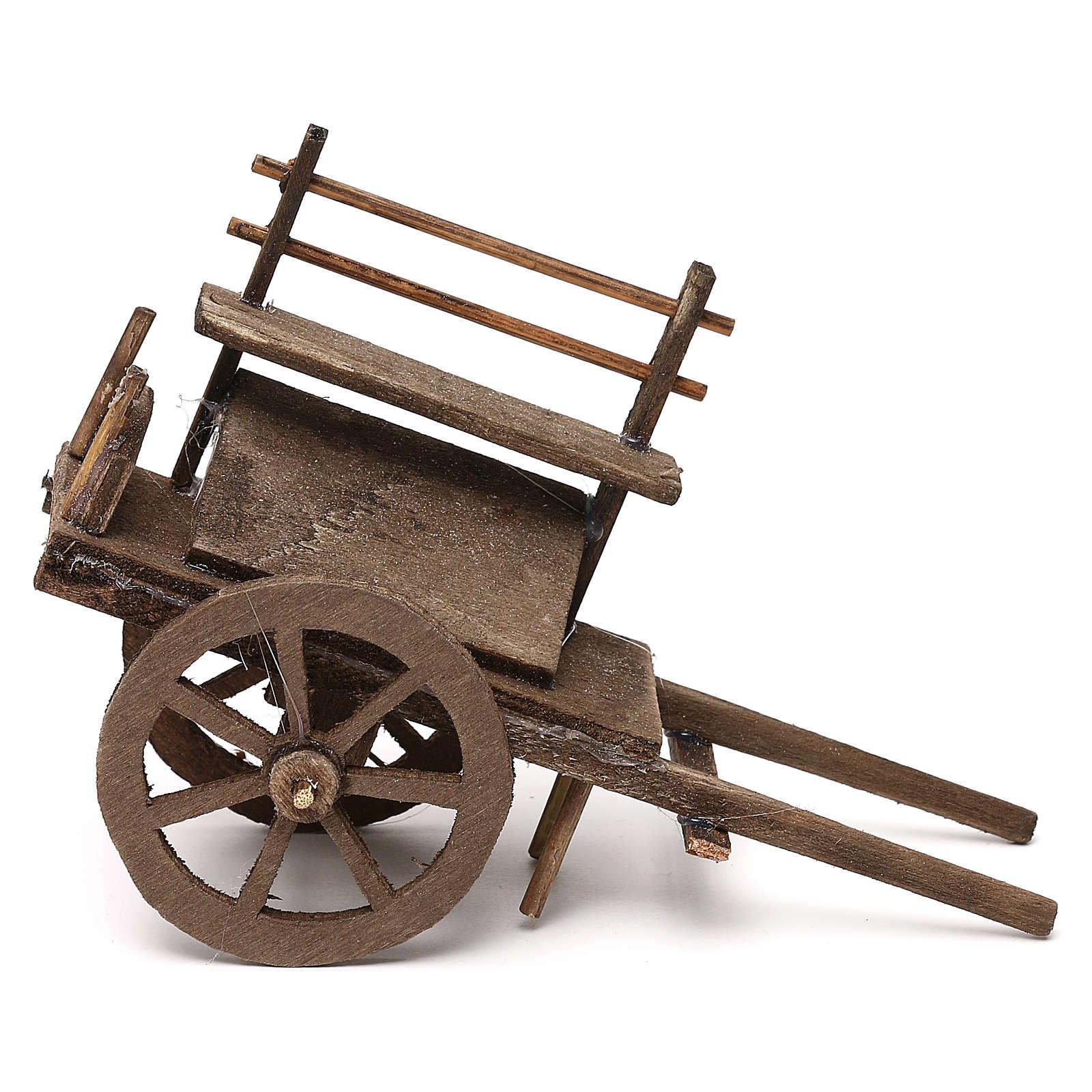 Wooden push cart, 12 cm Neapolitan nativity 4