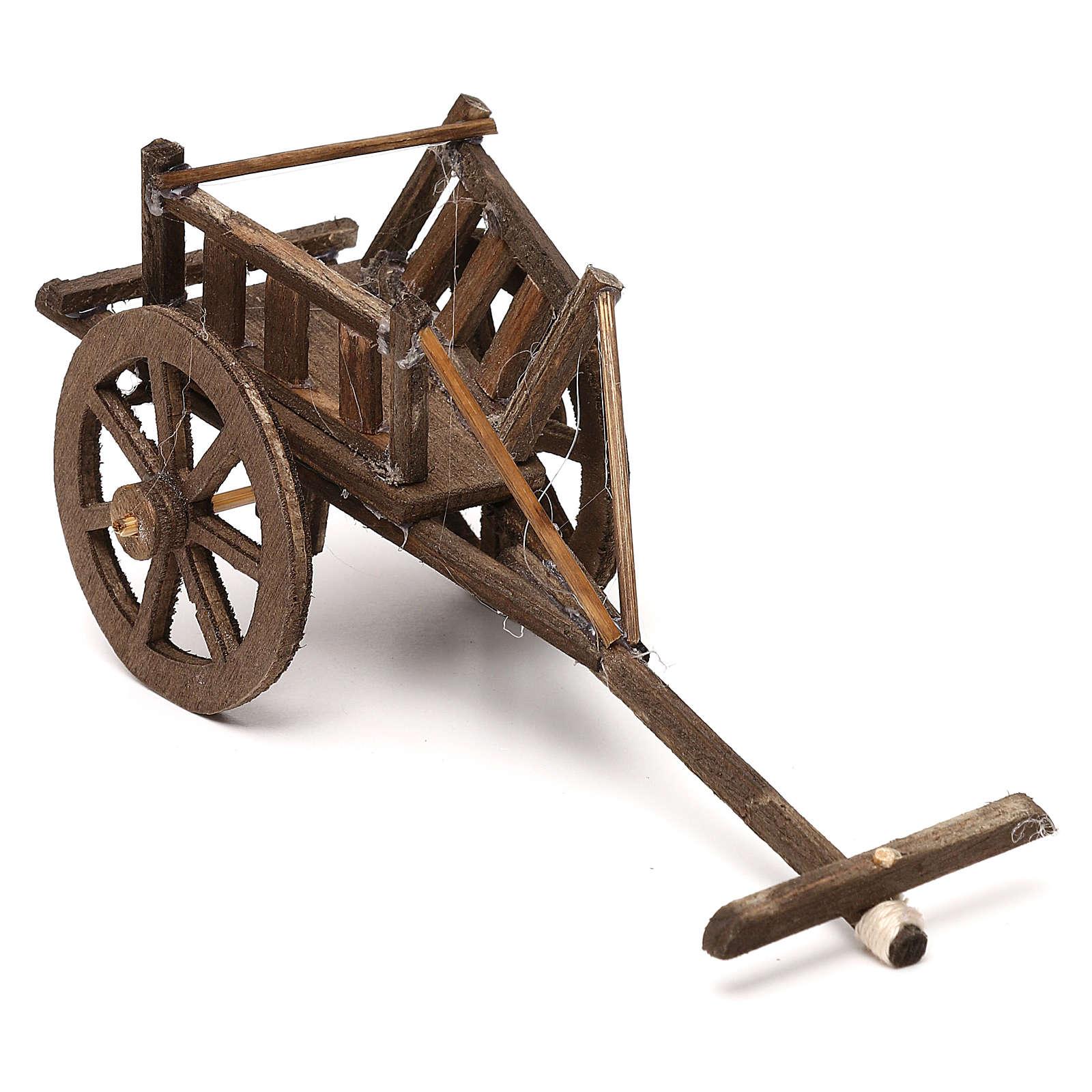 Carretto per biada in legno per presepe napoletano cm 12 4