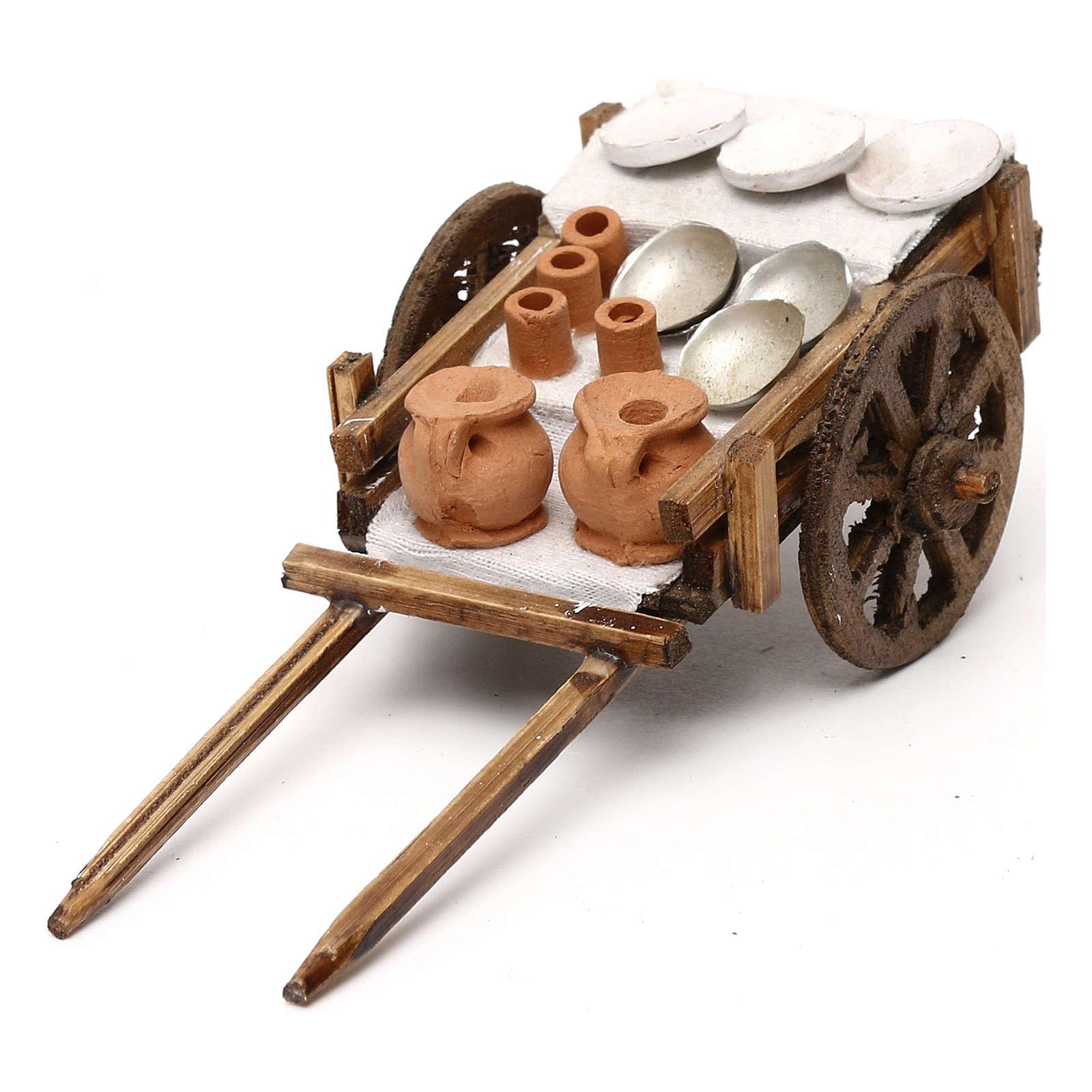 Carretto in legno brocche cm 8 presepe napoletano 4
