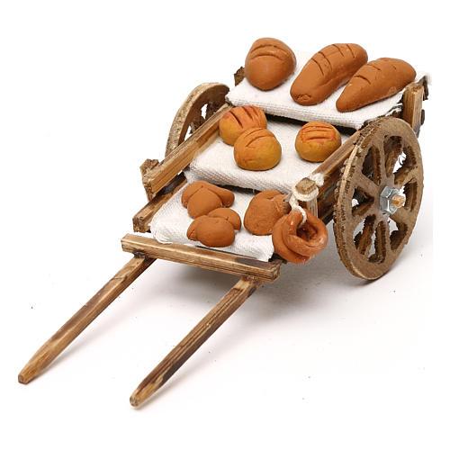 Carretto in legno con pane presepe napoletano 8 cm 1