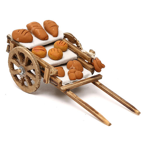 Carretto in legno con pane presepe napoletano 8 cm 2
