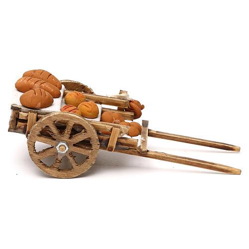 Carretto in legno con pane presepe napoletano 8 cm 3