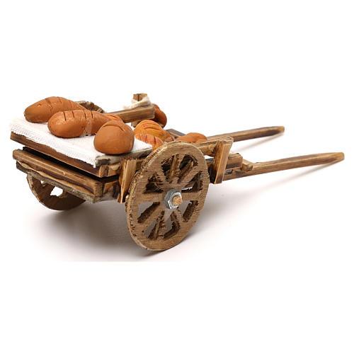 Carretto in legno con pane presepe napoletano 8 cm 4