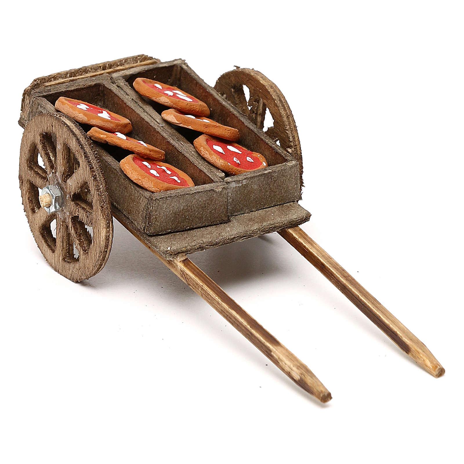 Carretto legno con pizza presepe napoletano 8 cm 4