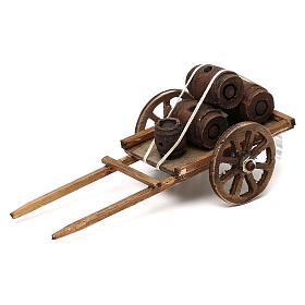 Crèche Napolitaine: Charrette avec tonneaux en bois crèche napolitaine 8 cm