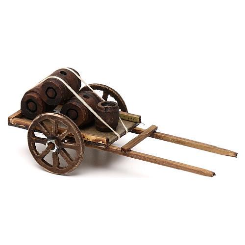 Carretto con botti di legno presepe napoletano 8 cm 2