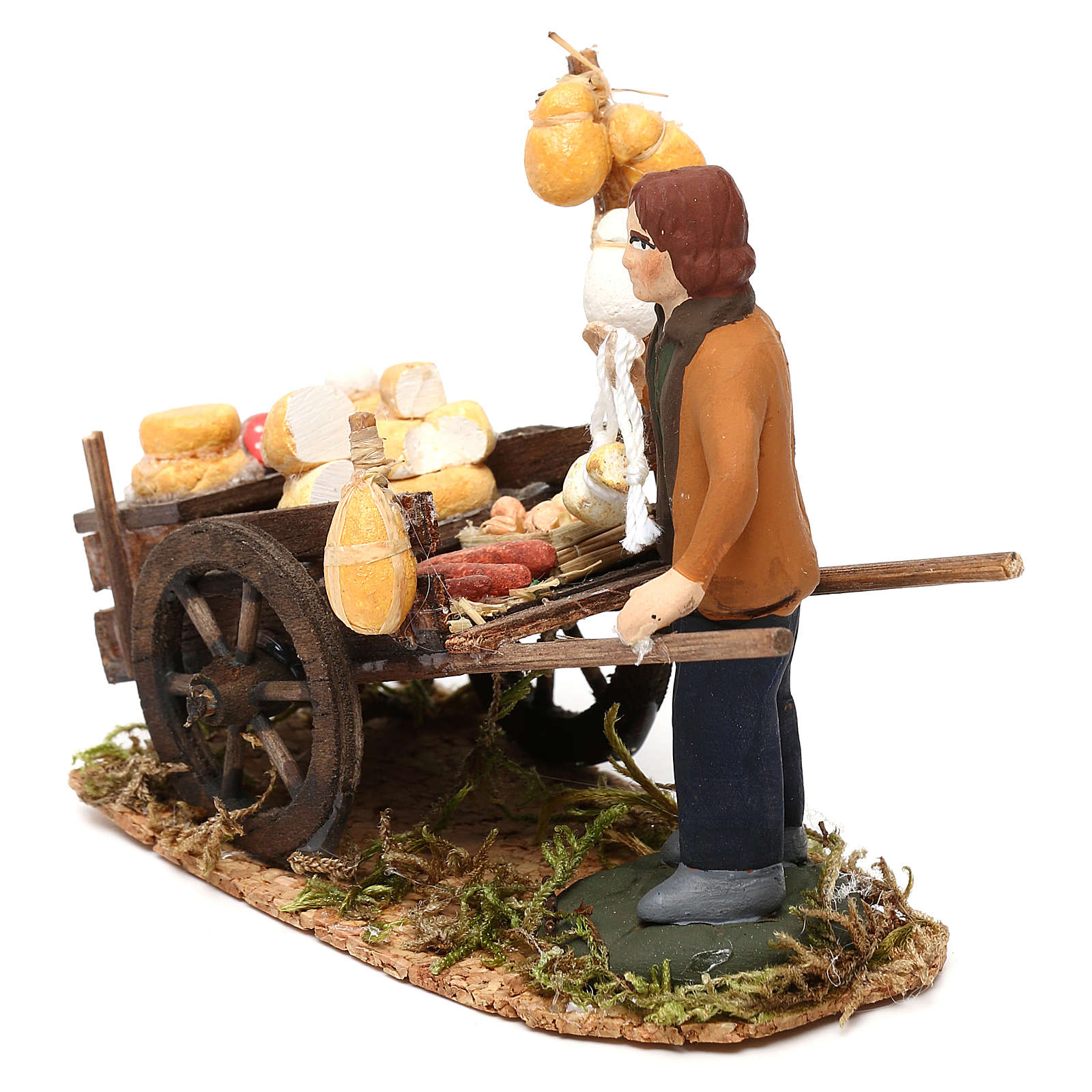 Cured meats cart with seller for Neapolitan Nativity scene 8 cm 4