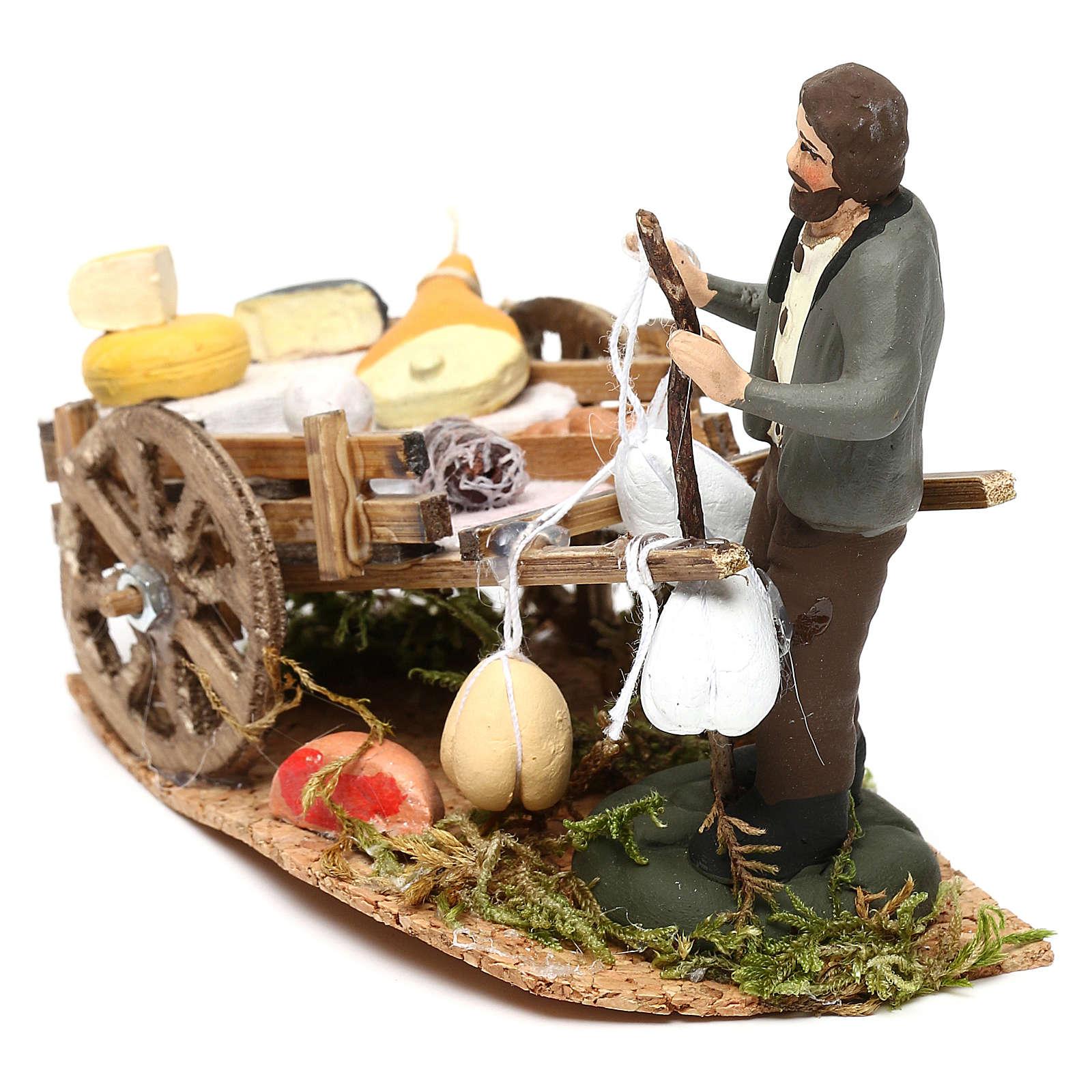 Scena carretto formaggi con venditore presepe napoletano 8 cm 4