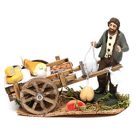 Scena carretto formaggi con venditore presepe napoletano 8 cm s1