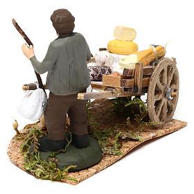 Scena carretto formaggi con venditore presepe napoletano 8 cm s4