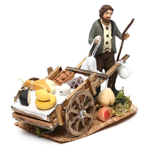 Scena carretto formaggi con venditore presepe napoletano 8 cm 2