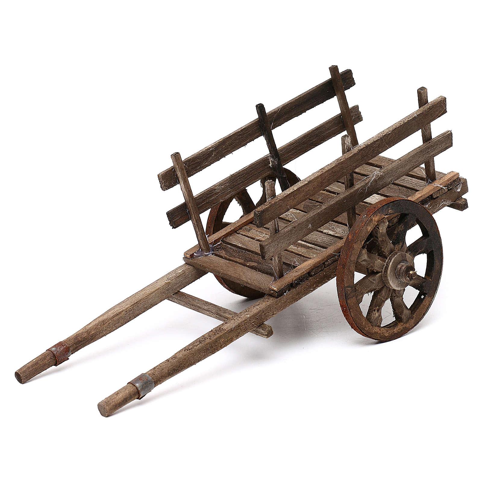 Carro in legno presepe napoletano cm 14 4