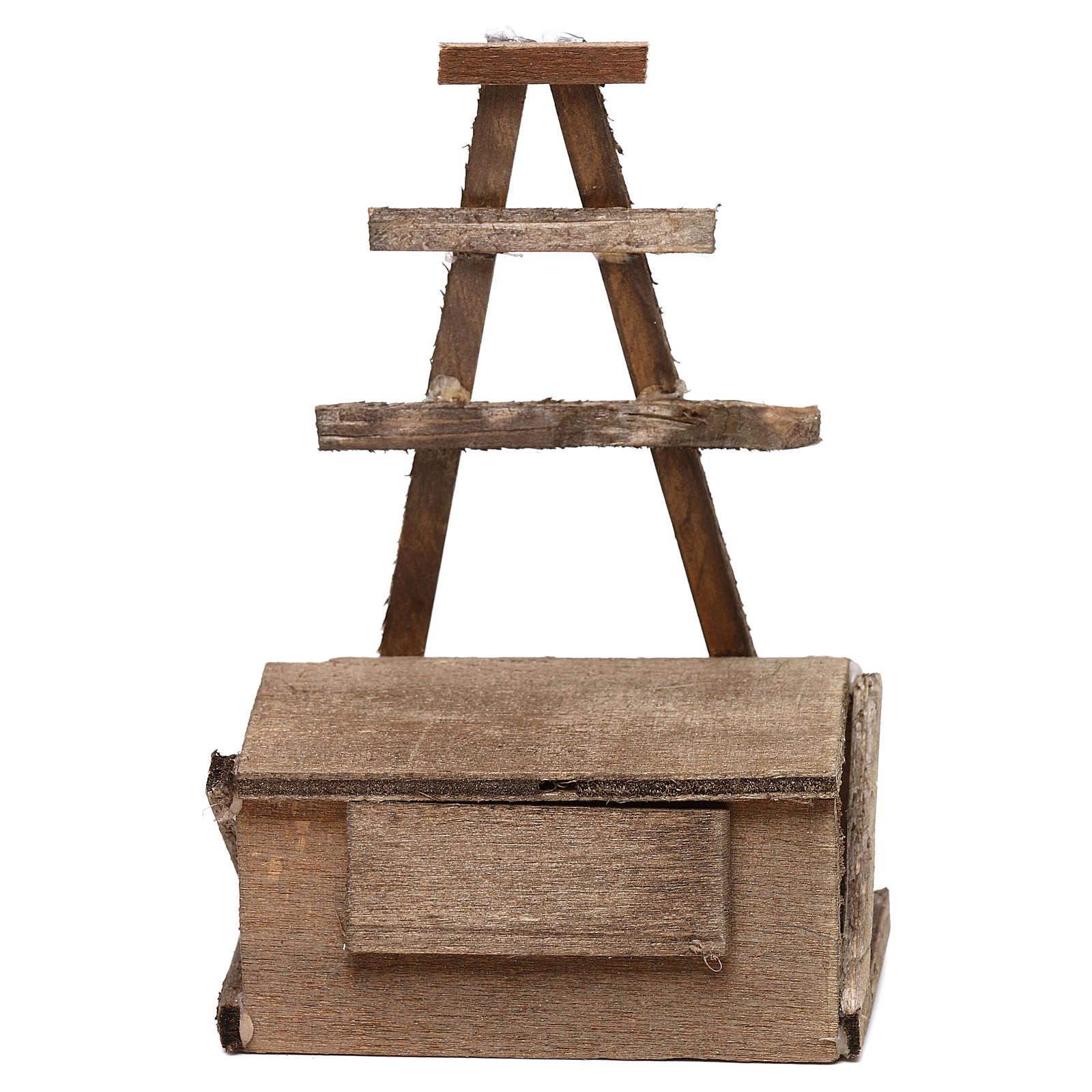 Banchetto in legno presepe napoletano 12 cm 4
