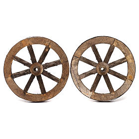 Set of two wheels in wood 14 cm s1