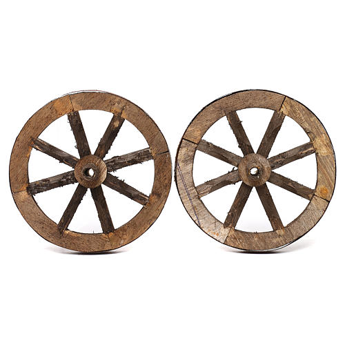 Set of two wheels in wood 14 cm 1