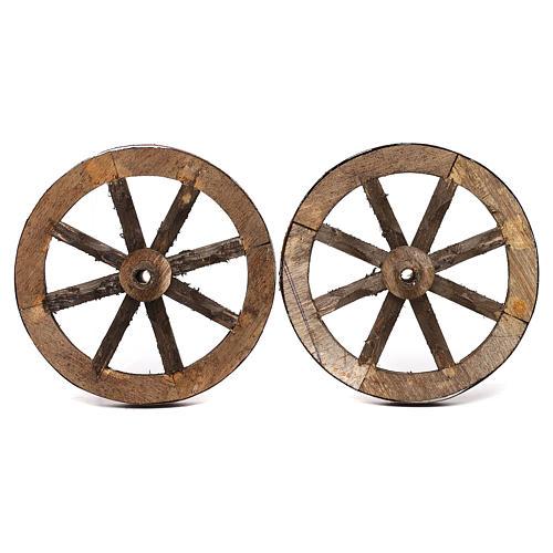 Set due ruote in legno 14 cm 1