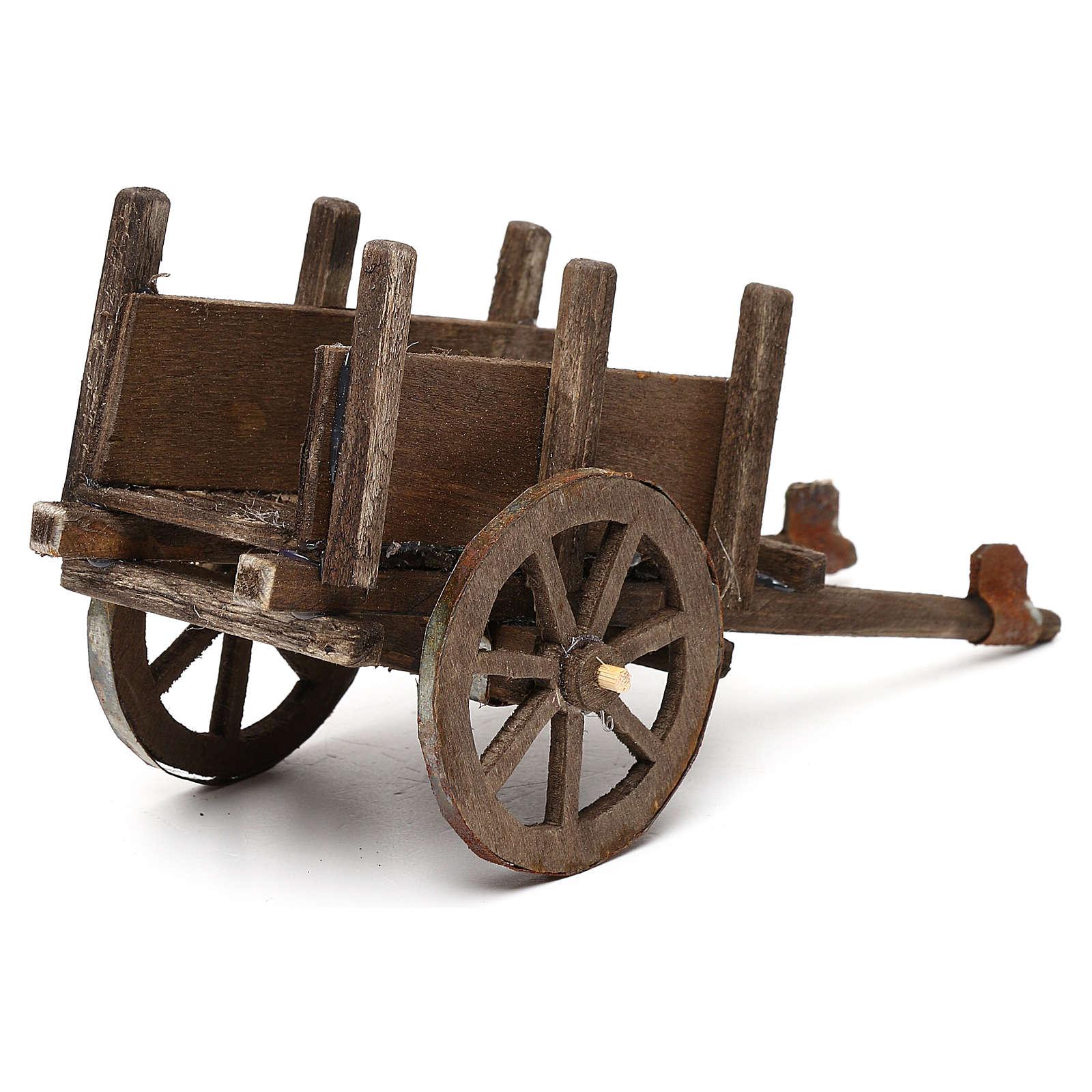 Wózek z drewna szopka neapolitańska 12 cm 4