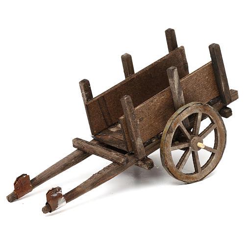 Wózek z drewna szopka neapolitańska 12 cm 1