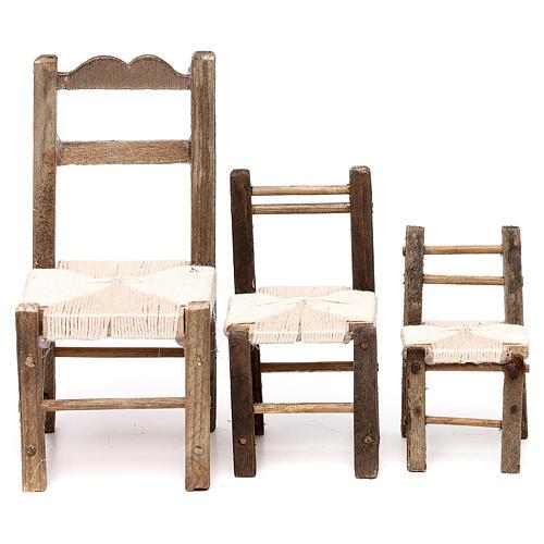 Set 3 sedie in legno 10/12/14 cm presepe napoletano 1