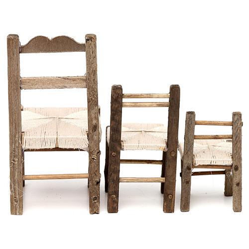 Set 3 sedie in legno 10/12/14 cm presepe napoletano 5