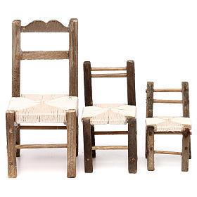 Presépio Napolitano: Conjunto 3 cadeiras em madeira para presépio napolitano com figuras de 10-12-14 cm de altura média