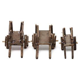 Set carretti in legno tre modelli presepe napoletano 4/6 cm s1
