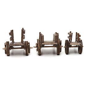 Set carretti in legno tre modelli presepe napoletano 4/6 cm s5