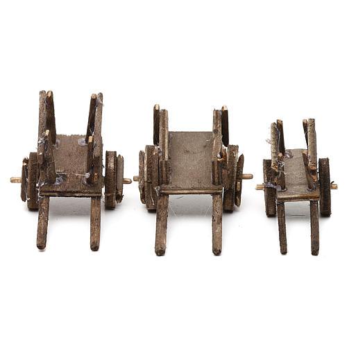Set carretti in legno tre modelli presepe napoletano 4/6 cm 1