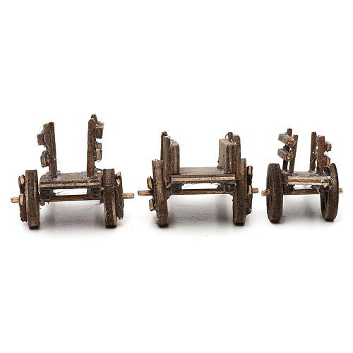 Set carretti in legno tre modelli presepe napoletano 4/6 cm 5