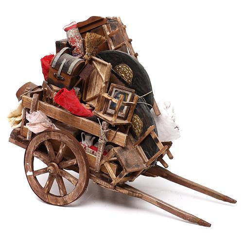 Neapolitan Nativity scene, cart with house belongings 18-22 cm 1