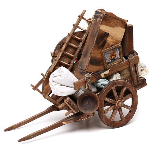 Neapolitan Nativity scene, cart with house belongings 18-22 cm 2