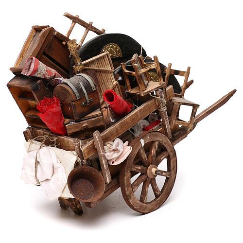 Neapolitan Nativity scene, cart with house belongings 18-22 cm 4
